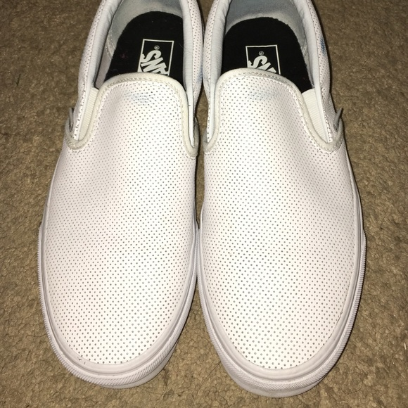 5b473edf4bcb White perforated leather slip on Vans. M 56d7677c291a35e21100b55d
