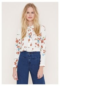 Forever 21 Tops - Cream & Red Tie-Neck Floral Blouse