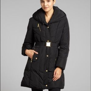 Cole Haan black quilted belted down coat