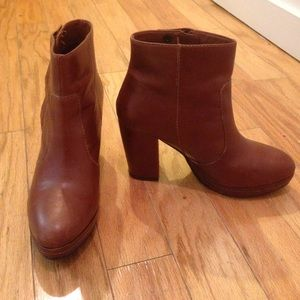H&M Brown Leather Ankle Booties
