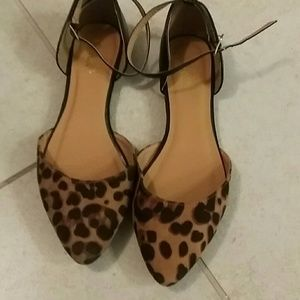 a6fab5fe03d Charlotte Russe Shoes - Leopard print flats with ankle strap