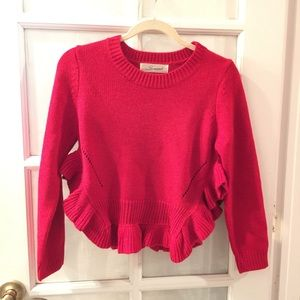 Sweaters - Red Ruffled Crop Sweater Sz Small