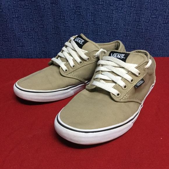 Vans Shoes   Vans Atwood Beige Skate Shoes W5 M85 41   Poshmark
