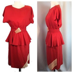 Vtg Pacino Red Ivory Stripe Dolman Peplum Dress