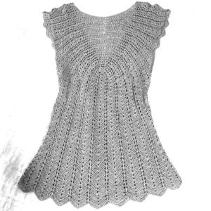 Silver shimmery crochet shirt. See 1st pic