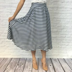 Relished Dresses & Skirts - Blue & White Striped Midi Skirt - Low Inventory!