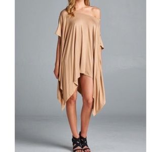 ✨Taupe Color Asymmetric Lose Fit Top Tunic✨