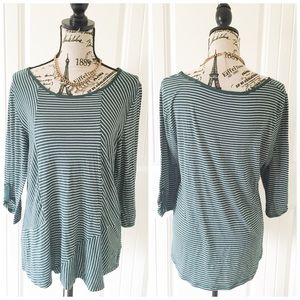 Kenar Tops - Kenar Green & White Striped Stretchy Top