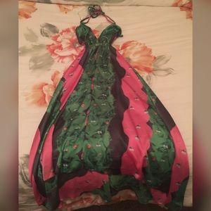 Green/pink midi dress