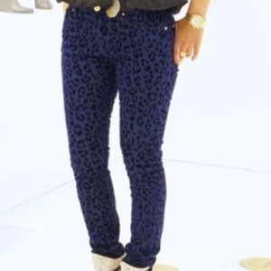 Zara Denim - Zara jeans navy blue with black leopard