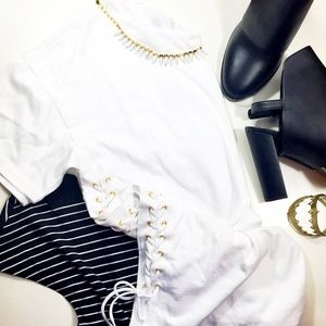 J. Crew White Lace Up Tee