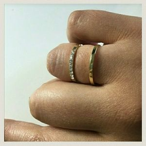 Iconic Legend Jewelry - Last 1🎉Gold Double Circle Bar Rhinestone Ring