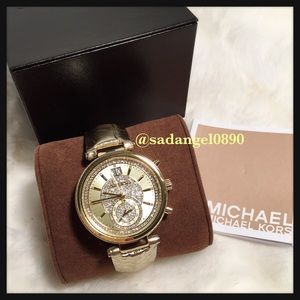 c84546a7d0234 Michael Kors Accessories - ✨💫MK Sawyer Champagne Crystal Dial Leather Watch