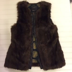 Sanctuary Jackets & Blazers - Faux fur vest with leather trim, small