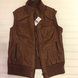Boeme Jackets & Blazers - Faux leather bomber vest, cognac size S
