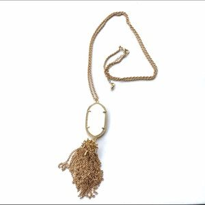 New White & Gold Tassel Oval Pendant Necklace