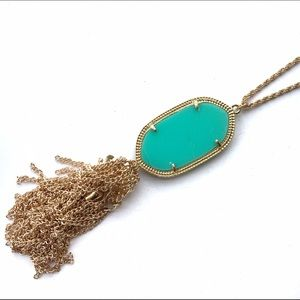 New Mint & Gold Tassel Oval Pendant Necklace