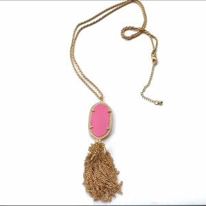 New Pink & Gold Tassel Oval Pendant Necklace