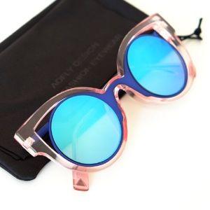 Retro Cat Eye Pink Frame and Blue Lenses Sunglass