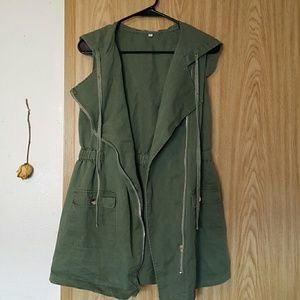 Navy green Vest Coat
