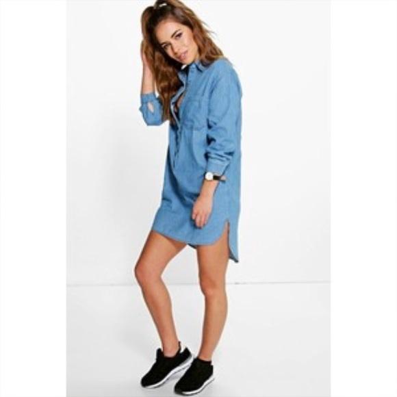 f093312c258 NWT Boohoo Denim Shirt Dress (petite)