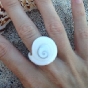 Handmade Accessories - SALE! White swirly seashell ring 1 left!