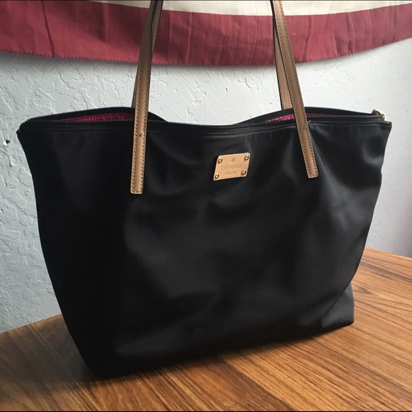 kate spade - Kate Spade large Sophie black zip top nylon tote from ...