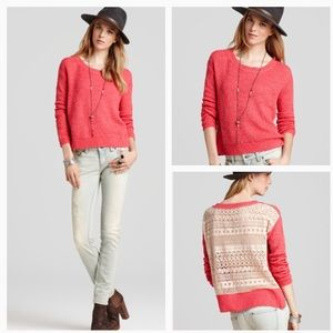 FREE PEOPLE LIGHT SWEATER WITH CROCHET BACK