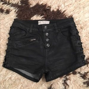 Free People Black Waxed Denim Shorts size 25