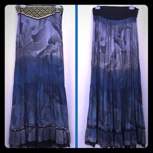 Free People Blue & Gold Bohemian Gypsy Maxi Skirt
