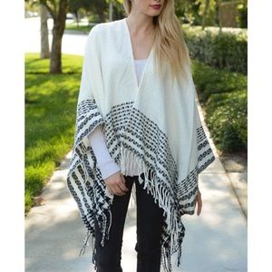 """Pied Beauty"" Fringed Printed Poncho"