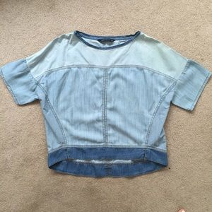 Chambray denim drop shoulder top