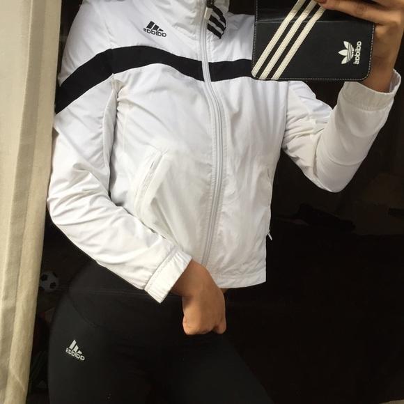 Adidas Jackets   Blazers - White crop style adidas windbreaker XS 88f541670