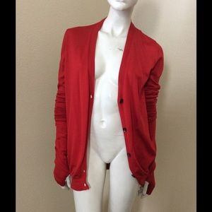 Margiela Red Open Back Cardigan