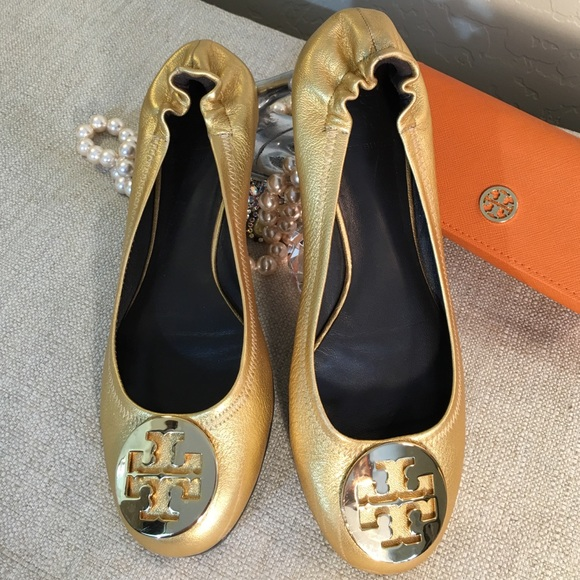 Tory Burch Reva Iridescent Flats for cheap sale online official site for sale sale really huge surprise for sale for sale cheap price Q6z9Mslvg