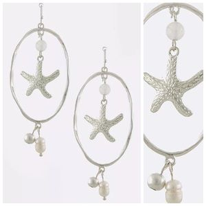 Custom Jewelry - ED20 Silver Textured Oval Starfish Pearl Earrings