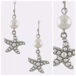 Boutique Jewelry - ED20 Faux Pearl Encrusted Starfish Earrings