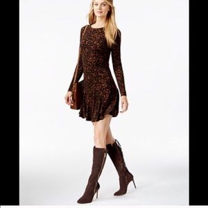 Michael Kors brown and black drop waisted dress