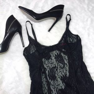 Adore Me Other - Black Paisley Lace Open Back Ruffled Slip