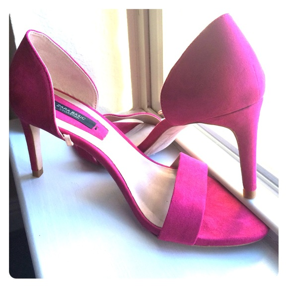 51% off Zara Shoes - Zara Hot Pink Fuschia strappy Suede heels ...