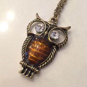 Owl Pendant Statement Necklace