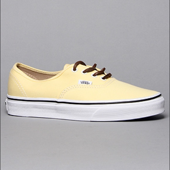 c87781758089fa Pastel yellow vans with brown laces. M 56d8d2fb2ba50a2f77003e40