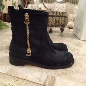 Jimmy Choo Shoes - Black suede jimmy Choo biker style boot.