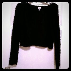 Black fluffy cropped sweater