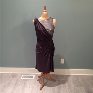 Adrianna Papell eggplant and sequined dress !