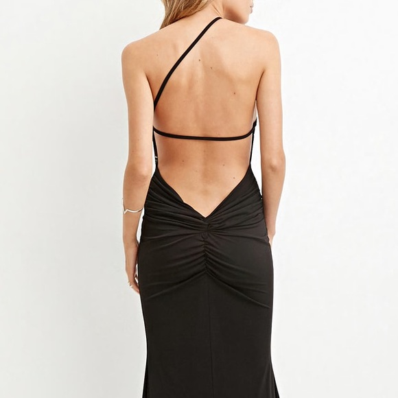 f56f025141 Forever 21 Dresses   Skirts - Black Maxi Dress Evening Ruched Backless Sexy  S