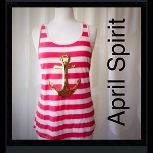 April Spirit Tops - April Spirit Soft Racerback Anchor Tank