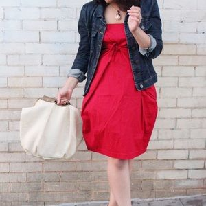 Cynthia Steffe Beth Cotton Poplin Red Dress