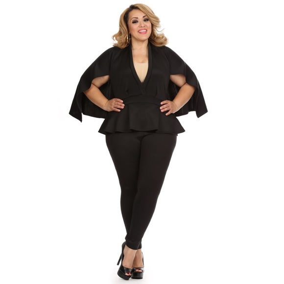 Pants Black Plus Size Cape Jumpsuit Poshmark