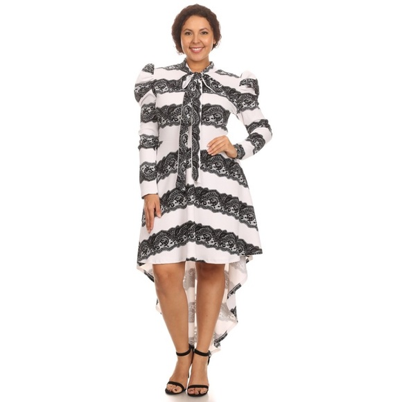 Dresses | Black And White Plus Size High Low Dress | Poshmark